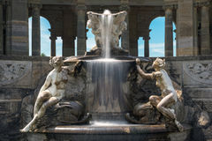 Fountain in Hever castle Italian garden. Hever, United Kingdom - June 18, 2015: Fountain in Hever castle Italian garden. Creation was inspired by the Trevi royalty free stock photo