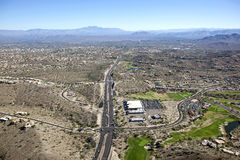 Fountain Hills. Arizona with an aerial view to the east and Four Peaks in the distance Royalty Free Stock Photo