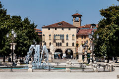 Fountain and historical building. Padua city. Italy. Stock Image