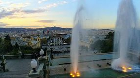 Barcelona city view sunset summer royalty free stock photo