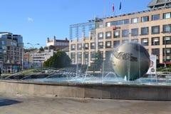 Fountain Hodzovo namestie square. Fountain Planeta mieru (Planet of peace) on Hodzovo namestie (Hodzovo sqaure) in capital of Slovakia - Bratislava with Stock Image