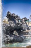 Fountain with horses` Four seasons `Manege square. Moscow Russia.  stock photography