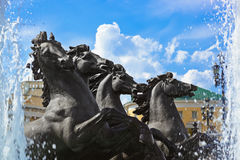Fountain with horses Royalty Free Stock Photo