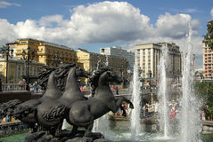 Fountain with horses on Manezh Square in Moscow Stock Photo
