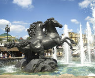 Fountain with horses. Moscow. royalty free stock photography