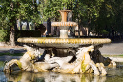 Fountain with Horses in Villa Borghese gardens Royalty Free Stock Photo