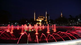 Fountain with illumination on Sultanahmet square stock footage