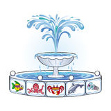 Fountain with images of marine life Stock Images