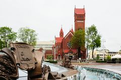 Fountain on Independence Square on the background of the Red Cat royalty free stock photo