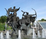 Fountain on Independence Square in Kiev. One of the fountains of the Independence square is decorated with statues of legendary brothers Kyi, Schek, Horiv and Royalty Free Stock Photo