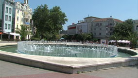 Fountain on the Independence Square Varna, Bulgaria. Varna was founded by the ancient Greeks as the sea gate of the Bulgarian kingdom. Today Varna - the third stock footage