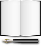 Fountain ink pen and open book Royalty Free Stock Image