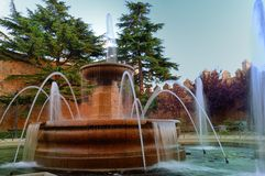 Fountain inside the fortified walls Royalty Free Stock Photos