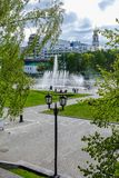 Fountain on Iset river and Historic square in Ekaterinburg 2018.  Stock Image