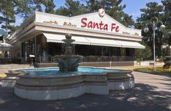 Fountain and Italian restaurant Santa Fe on the promenade in the resort town of Gelendzhik, Krasnodar region, Russia Royalty Free Stock Photos