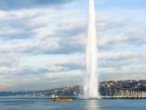 Fountain Jet d`Eau at the Lake Geneva Stock Photo