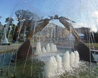 Fountain in Kharkiv, Ukraine. Water splashes in fountain stock images