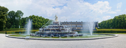 Fountain of King Ludwigs palace Herrenchiemsee Stock Photos