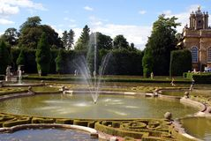 Fountain in a kot garden at Blenheim Palace in England Stock Image