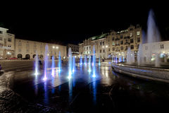 Fountain in Krakow at night Royalty Free Stock Photography
