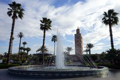 Fountain and Kutubia mosque Stock Photo