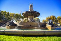 Fountain at La Rotonde, Aix-en-Provence, France Royalty Free Stock Images