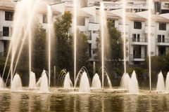 Fountain in lake Royalty Free Stock Photo