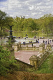 Fountain, Lake, Central Park, New York City Royalty Free Stock Photo