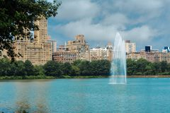 Fountain on the lake in the city park stock photos