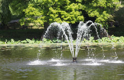 Fountain in lake. A cooling fountain in a lake, splashing water royalty free stock photo