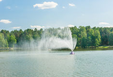 Fountain in lake Druskonis. Resort Druskininkai Stock Photo