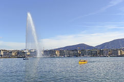 Fountain in Lake Geneva, in Geneva Switzerland Royalty Free Stock Photos