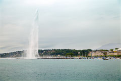Fountain on  Lake Geneva (Lac Leman) in Geneva Royalty Free Stock Photos