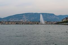 Fountain at lake Geneva, Switzerland royalty free stock photos