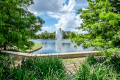 Fountain and Lake. At Hermann park stock images