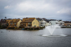 Fountain in Lake Holly, in Virginia Beach, Virginia. Stock Photo