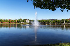 Fountain on the lake pfaffenteich in schwerin, the capital city Royalty Free Stock Images