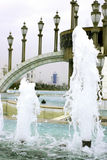 Fountain with lampposts2. Fountain with lampposts. Parks. Ashkhabad. Turkmenistan Stock Photos
