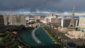 Fountain Las Vegas Landmark TIme Lapse. Editorial time lapse clip of the famous fountains between on the Las Vegas strip stock footage