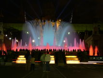 Fountain and light show. The magical music fountain and light show of Barcelona royalty free stock image