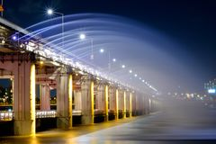 Fountain with light show at Banpo Bridge. The fountain with light show at Banpo Bridge royalty free stock photography