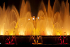Fountain lights in Barcelona Stock Photos