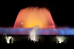 Fountain lights in Barcelona. Montjuic Font Magica (magic fountain) at night - Barcelona - Spain Stock Photos