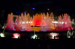 Fountain lights in Barcelona Royalty Free Stock Photo