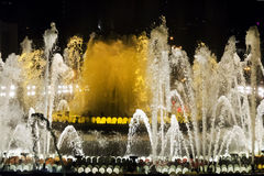 Fountain lights in Barcelona Royalty Free Stock Photos