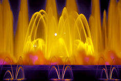 Fountain lights in Barcelona. Montjuic Font Magica (magic fountain) at night - Barcelona - Spain Royalty Free Stock Photography