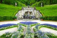 Fountain in the Linderhof Palace. Landscape with fountain in the Linderhof Palace. Germany Stock Photography