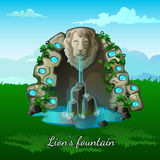 Fountain with a lion head on nature background Royalty Free Stock Photo