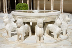 Fountain of Lions, in Alhambra palace, Granada, Andalusia, Spain. Royalty Free Stock Image