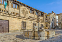 Fountain of the Lions, Baeza. Fountain of the Lions is an archaeological monument. The fountain is adorned with the statues of lions and oxen, Baeza, Spain royalty free stock photography